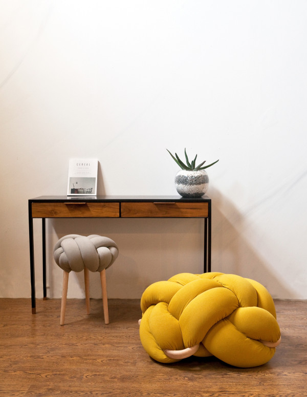 Grey-knot-stool-L-Mustards-Knot-cushion-600x775